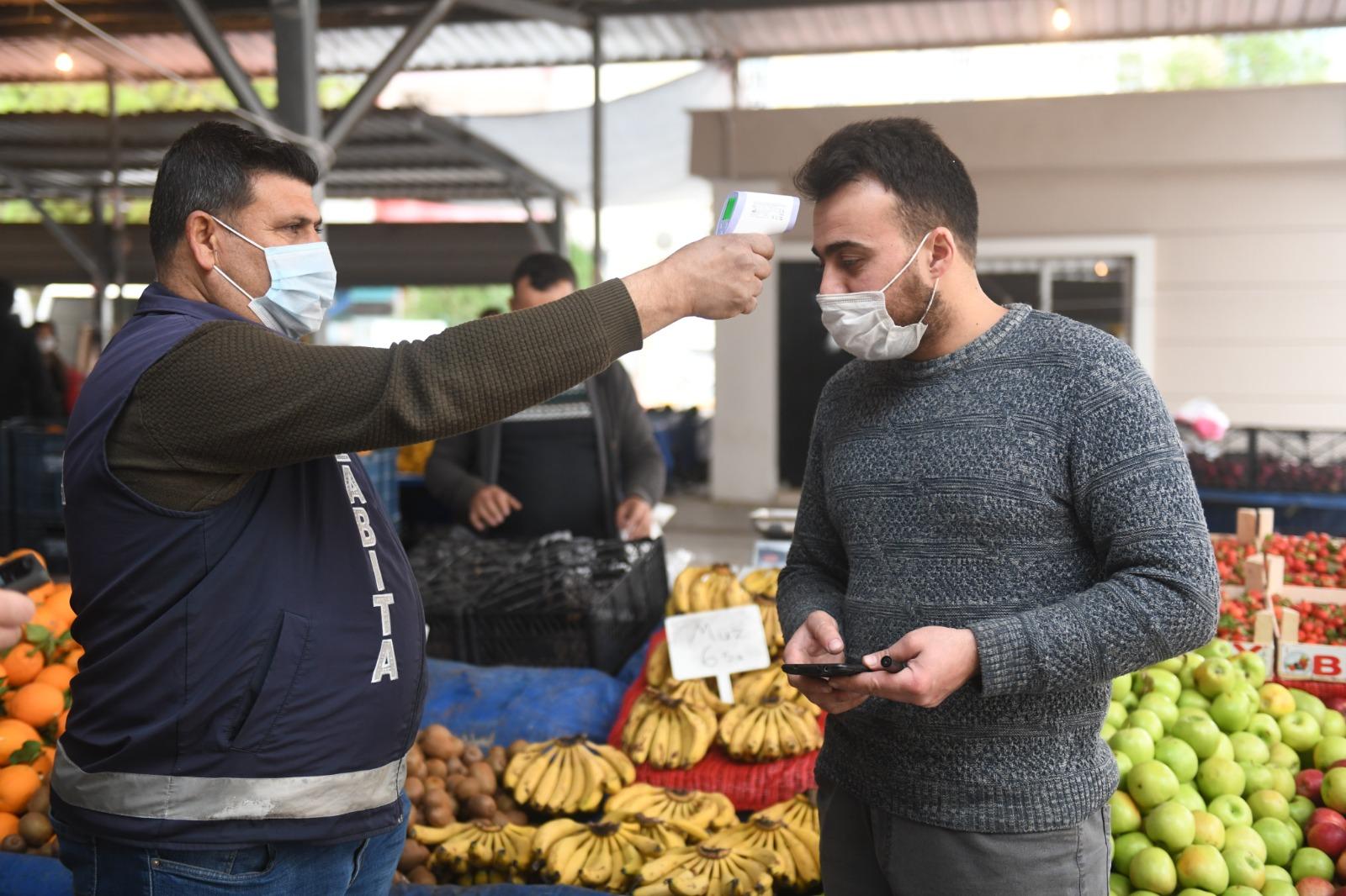 Yenişehir'deki pazaryeri girişlerinde HES kodu uygulaması