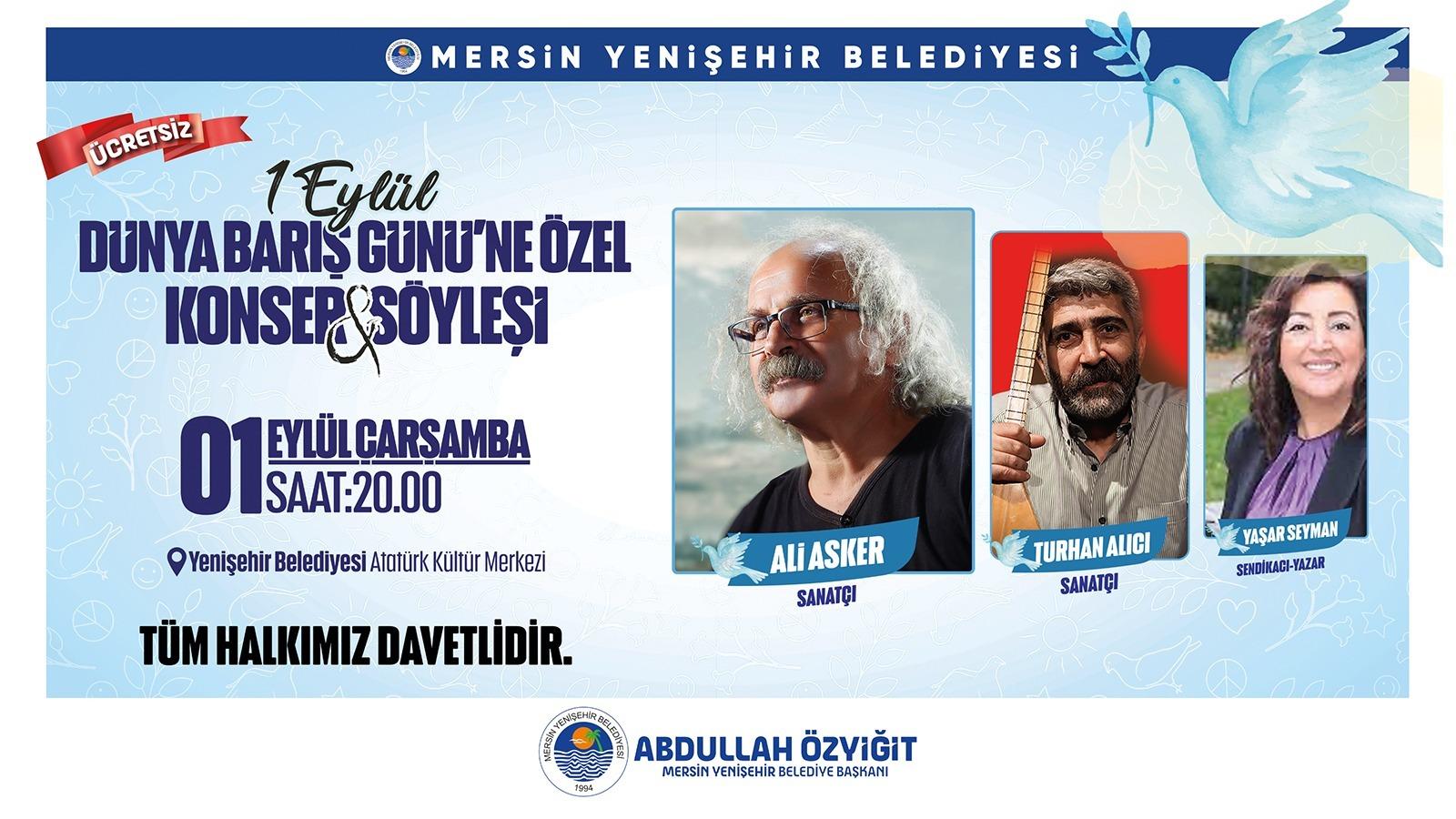 Yenişehir'de Dünya Barış Günü'ne özel konser ve söyleşi