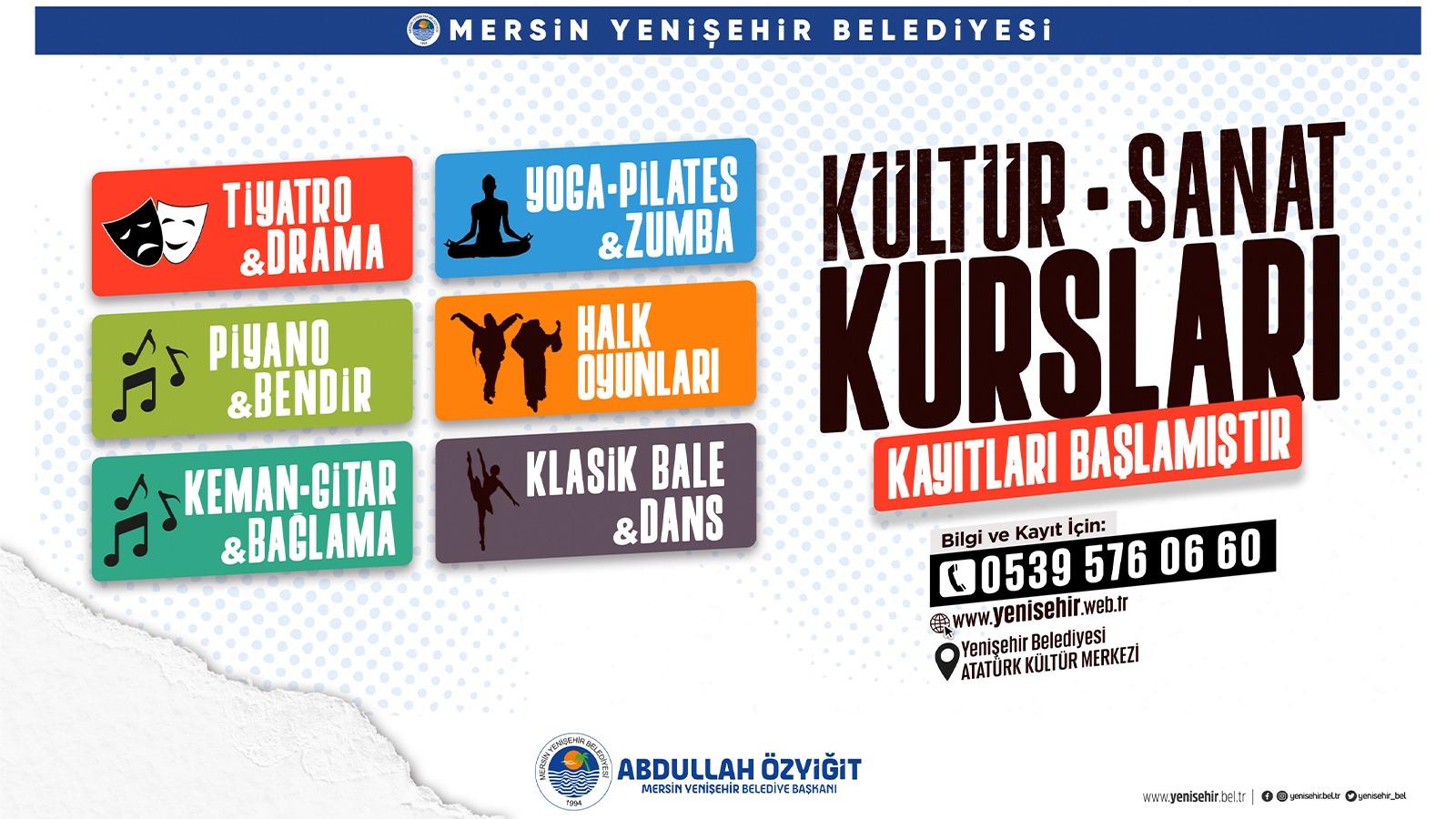 Yenişehir Belediyesi kültür sanat kurslarına kayıtlar başladı